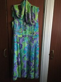 Multi Coloured Maxi Dress With Scarf And Necklace Size 24