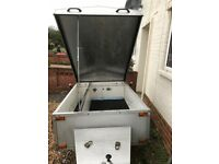 Purpose Built Camping Trailer. Locking Lid, Fibreglass Lined, Spare Wheel