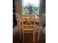 White dining table with 4 dining chairs