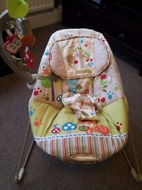 Bouncy chair and baby gym. £25 each.