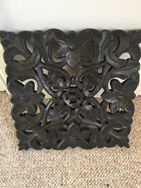 Carved wood plaque for wall