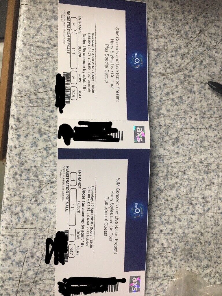 2 X Harry Styles Tickets O2 London12th April In Braintree Essex