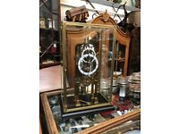 Cased chain fusee cathedral skeleton clock.