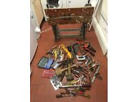 Power tools, assorted tools and work bench