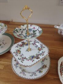 Vintage crockery tiered cake stands. Perfect for weddings