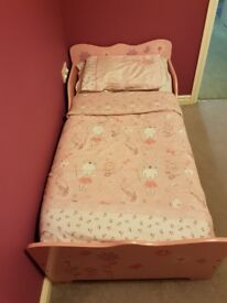 Girls toddler bed and mothercare mattress