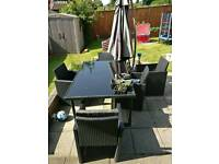 6 Seat Anthracite Rattan Table and chairs