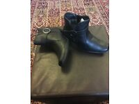 Ladies Black leather boots size 3 BRAND NEW