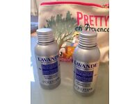 Reduced!L'Occitane foaming baths and gift bag/makeup pouch