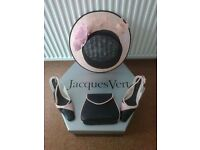 JAQUES VERT NAVY BLUE AND PALE PINK MATCHING SHOES, HAT AND BAG