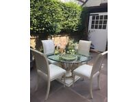 Glass Top Dining Table & 4 Chairs - Italian