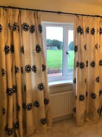 Pair of beautiful cream and black fully lined curtains