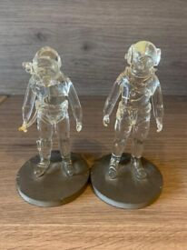 2 Glass Diver Figurines