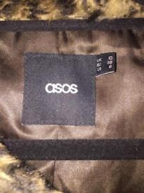 Asos faux fur Leapard print coat size 10