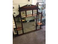 Antique over mantle mirror / fireplace mirror