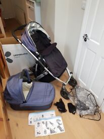 UPPAbaby Vista Stroller / Buggy with Carrycot and Accessories - Denim Blue (Excellent Condition)