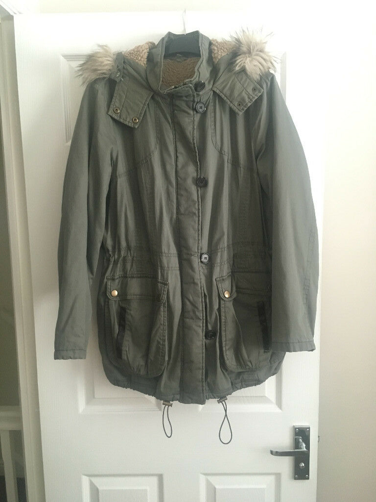 M&S Khaki Parka Coat - Size 16