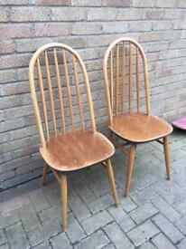 2 x ercol wooden chairs