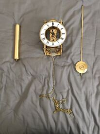 Brass wall clock with 7 day movement