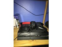 PlayStation 4 with 3 games, controller and Turtlebeach headset