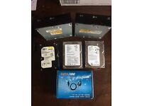 3x pc hard drives, 2x DVD drives, 1x sata/ide to USB