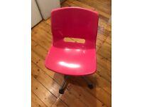 Kid's Desk Chair Pink Swivel