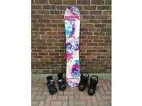 Snowboard, boots and bindings package