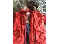 Boys red padded fur collar coat