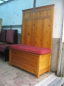 SOLID PINE TALL SETTLE,3-4 SEATER. UPHOLSTERED SEAT PAD,USEFUL UNDERSEAT STORAGE.. DELIVERY POSSIBLE