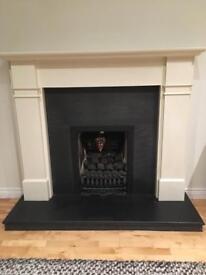 Gas Fire, Laura Ashley cream surround/mantle & black slate hearth