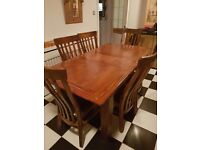 Solid oak extendable table 6 chairs