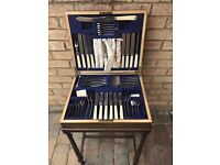 Circa 1910 E M Dickinson Oak Boxed Full Canteen Of Cutlery Set On Stand