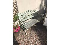 Wrought Iron GARDEN Park Bench OUTDOOR Furniture Seat UPCYCLE