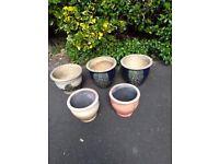 3 Ceramic & 2 Earthenware Planters