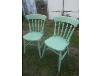 Pair of upcycled, shabby chic, beech chairs.