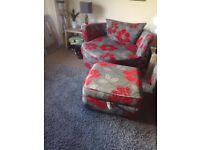 2 seater sofa with swivel chair and footstool with storage