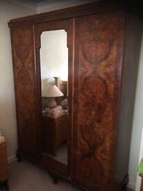 Antique wardrobe/compactium and matching dressing table Mahogany and walnut