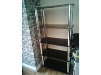 Black Glass and Chrome Shelf Unit