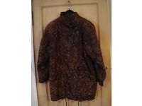 Ladies vintage M&S brown padded jacket, roomy size 14, paisley print