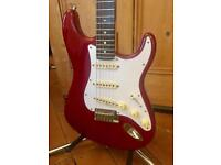 2001 Fender American Deluxe Stratocaster Guitar - Crimson Transparent Red - Courier Delivery