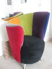 Designer Curved Chair: made by Grafu Baldai in mutli-colored Harlequin design.