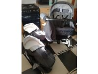 Double pram pushchair matching baby bag matching car seats rain cover foot muffs