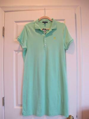 NEW Womens Ralph Lauren Melon Green Polo shirt dress 100% cotton midi L NWT