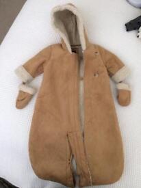 Faux sheepskin snowsuit/ pram suit 3-6 months