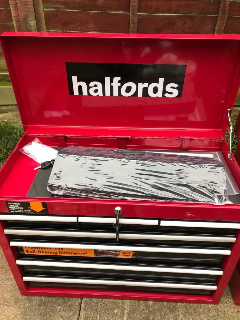 Halfords professional tool box 7draw top box new