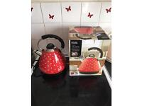 Red polka dot kettle and toaster