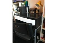 Black and white desk with chair
