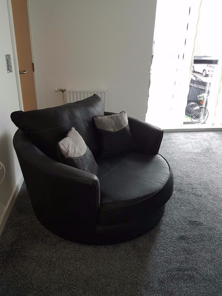 Excellent Condition SofaWorks 3 Seater Sofa And Large 2 Round Swivel Chair