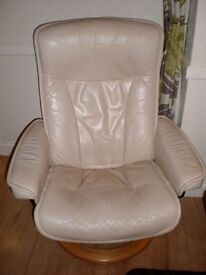 NOW SOLD Ekornes Stressless Cream Leather Recliner Chair