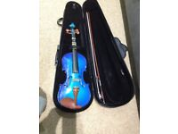 Blue full size violin